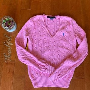 Pol by Ralph Lauren pink v-neck cable knit sweater